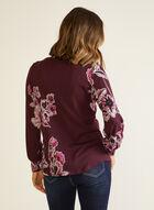 Floral Print Puffed Sleeve Blouse, Purple