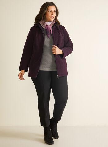 Imperméable à matelassage fantaisie, Violet,  printemps été 2020, manteau, imperméable, capuchon, zip, glissière, matelassé, poches