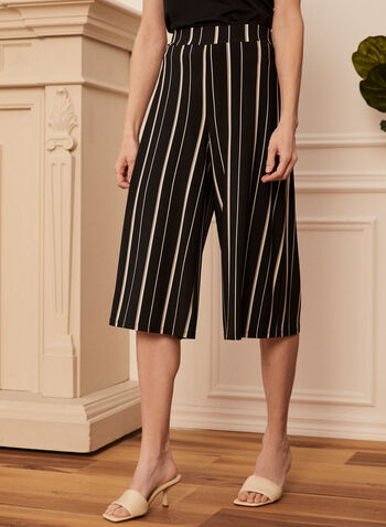 Stripe Print Gaucho Pants, Black,  spring summer 2021, pants, gaucho, capris, wide leg, striped, made in Canada, pull on