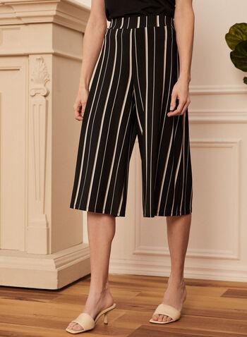 Pantalon gaucho à rayures verticales , Noir,  printemps été 2021, pantalon, gaucho, rayures, verticales, jambe large, écourtée, pull-on, à enfiler, fait au canada