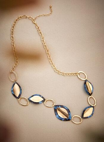 Collier long à chaîne et pierres, Bleu,  accessoires, bijoux, collier, pierres bicolores, forme d'oeil, larges anneaux dorés, chaîne métallique, fermoir mousqueton, automne hiver 2021
