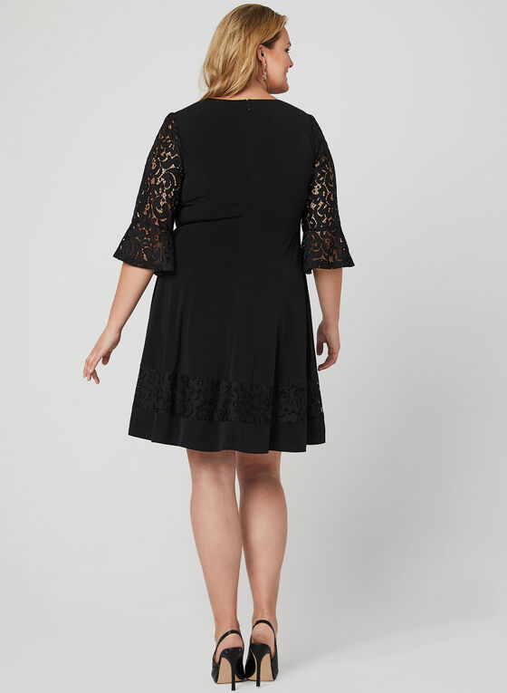Fit & Flare Panelled Dress, Black, hi-res