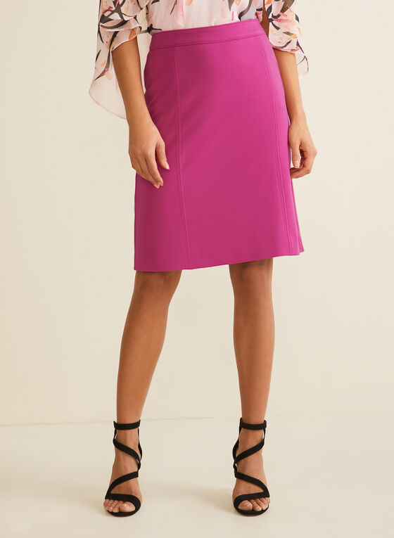 Topstitch Detail Straight skirt, Purple