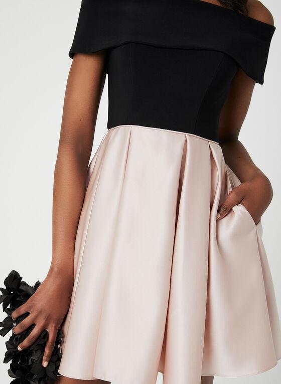 Off-the-Shoulder Satin Dress, Black