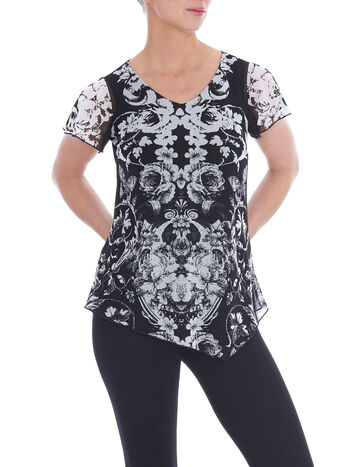 Short Sleeve Mesh Overlay Top, Black, hi-res