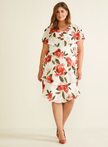Floral Print Tiered Dress, White,  cocktail dress, tiered, short sleeves, floral print, chiffon, v-neck, spring summer 2020