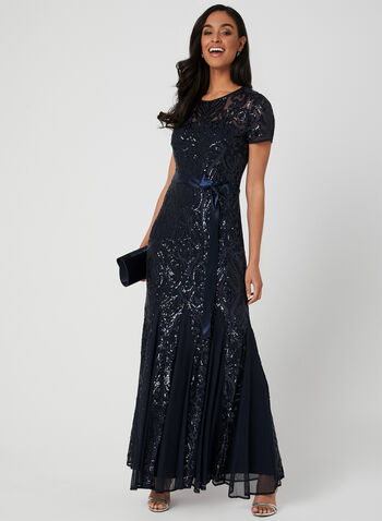 Robe en sequins et maille filet, Bleu, hi-res