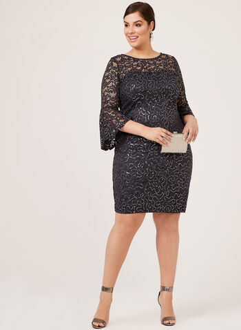 Marina - Sequin Lace ¾ Bell Sleeve Dress, Grey, hi-res