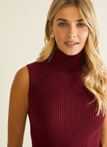 Sleeveless Turtleneck Sweater, Red,  sweater, sleeveless, turtleneck, ribbed knit