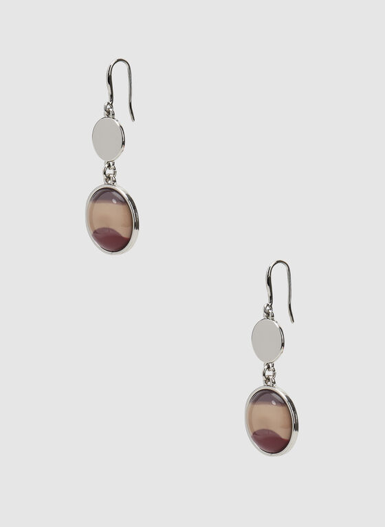 Two-Tiered Drop Earrings, Red, hi-res