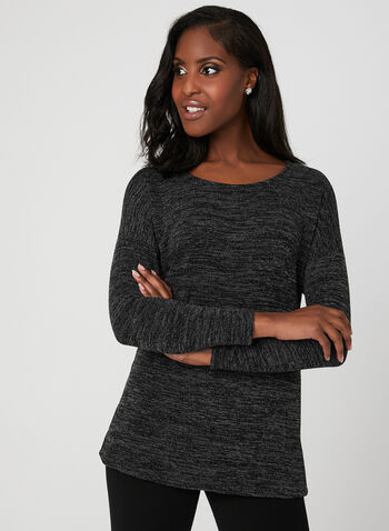 Dolman Sleeve Knit Top, Grey, hi-res