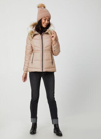 Novelti - Manteau matelassé à capuchon, Rose,  manteau, matelassé, manches longues, capuchon, fausse fourrure, végane, glow, automne hiver 2019