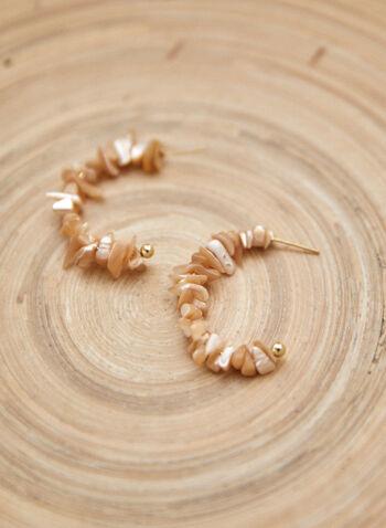 Open Hoop Shell Earrings, Off White,  spring summer 2021, accessory, jewellery, earrings, open hoop, pushback closure, seashells, shells, inserts, two tone