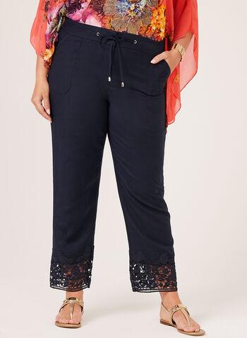Modern Fit Wide Leg Linen Pants, Blue, hi-res