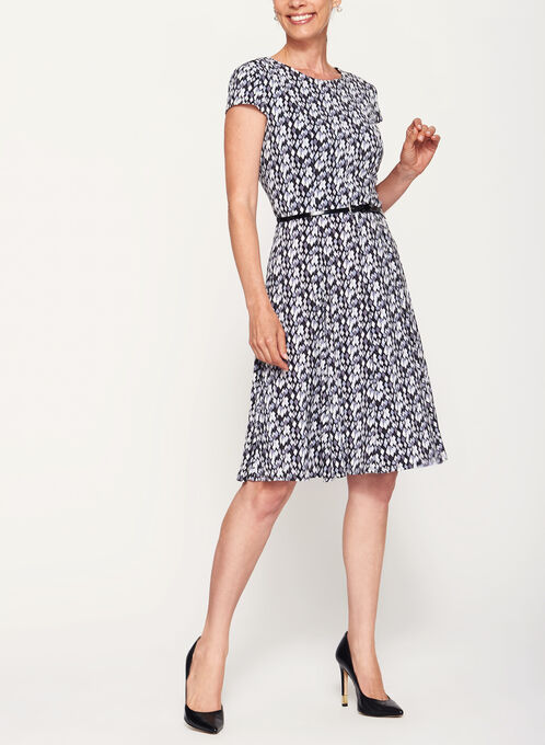Geometric Print Fit & Flare Dress, Black, hi-res