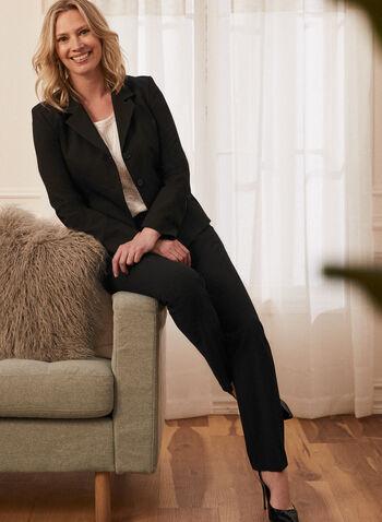 Louben - Pantalon coupe moderne à jambe droite, Noir,  pantalon, costume, jambe droite, coupe moderne, plis, poches, fait au Canada, printemps été 2021