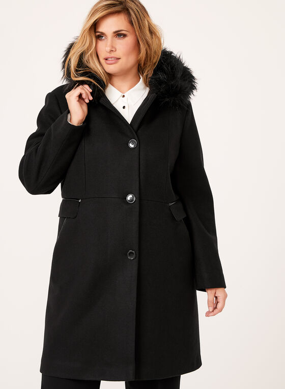 Faux Fur Trimmed Wool Like Coat, Black, hi-res
