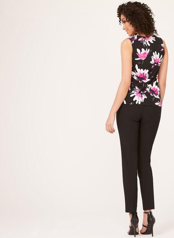 Sleeveless Floral Print Top  , Black, hi-res
