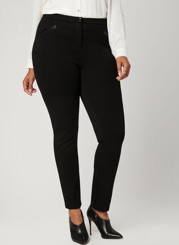 Pantalon coupe signature à jambe étroite, Noir, hi-res