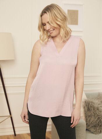 Sleeveless V-Neck Blouse, Purple,  blouse, sleeveless, v-neck, high low, spring summer 2021