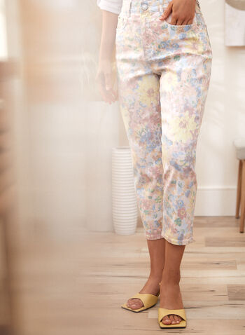 Floral Print Denim Capris, Multi,  spring summer 2021, made in canada, capris, capri, pants, denim, jeans, floral print, flowers, high waist, pockets, slim leg, button closure, belt loops