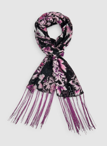 Large Floral Print Scarf, Purple,  scarf, floral print scarf, floral print, flower print, fringes, fall 2019, winter 2019