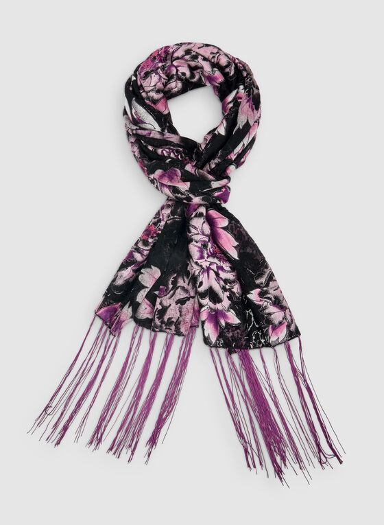 Foulard fleuri à frange longue, Violet