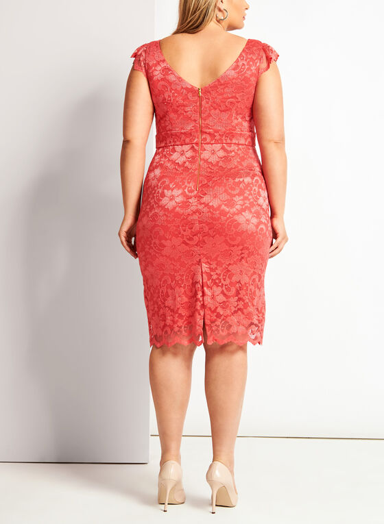 Floral Lace Midi Dress, Orange, hi-res