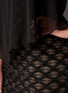 Robe texturée avec poncho mousseline, Noir, hi-res