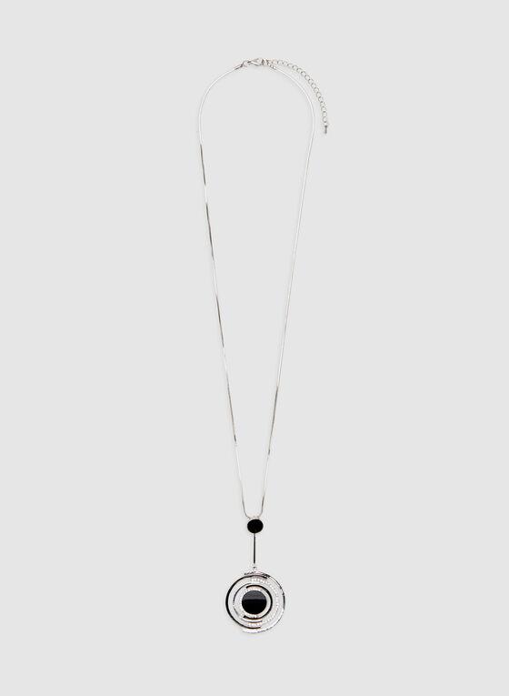 Circular Pendant Chain Necklace , Black