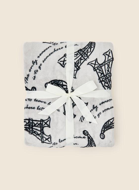 Eiffel Tower Print Blanket, Black