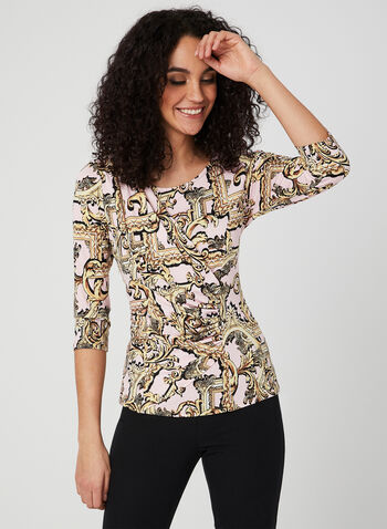 Vintage Print ¾ Sleeve Top, Multi, hi-res