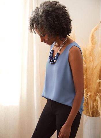 Women's Sleeveless Crepe Blouse, blue,  fall winter 2021, sleeveless, crepe, top, blouse, essential, basic, tank, tank top, round neck, layering