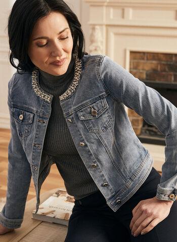 Pearl Embellished Denim Jacket, Blue,  jacket, denim, pearls, rhinestones, long sleeves, pockets, buttons, spring summer 2020