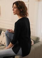 T-shirt long en modal et coton, Noir