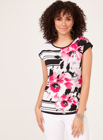 Floral Stripe Print Blouse, Black, hi-res