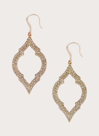 Boucles d'oreilles avec pendants ajourés, Or, hi-res