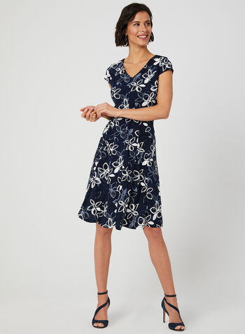 Popover Jersey Dress, Blue, hi-res,  puff print dress, floral print dress, day dress, short sleeves, princess fit, a-line dress, fit and flare dress, fit & flare dress, petite dress, spring 2019, flare dress, a-line dress