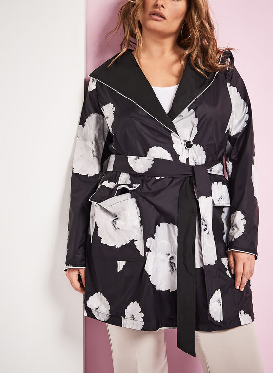 Novelti Reversible Floral Print Raincoat, Black, hi-res