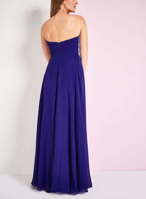 Robe de soirée bustier avec brillants, Bleu, hi-res