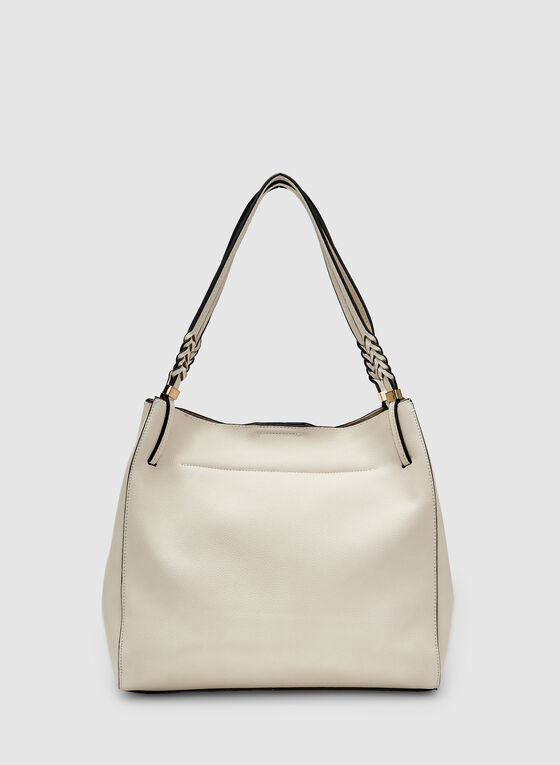 Double Handle Hobo Bag, Off White