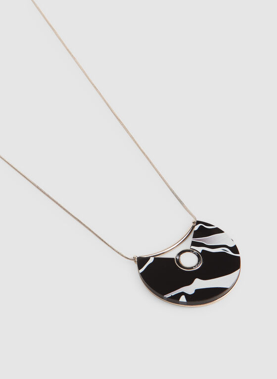 Marbleized Pendant Necklace, Black, hi-res