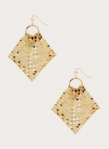 Mesh Hook Earrings, Gold, hi-res