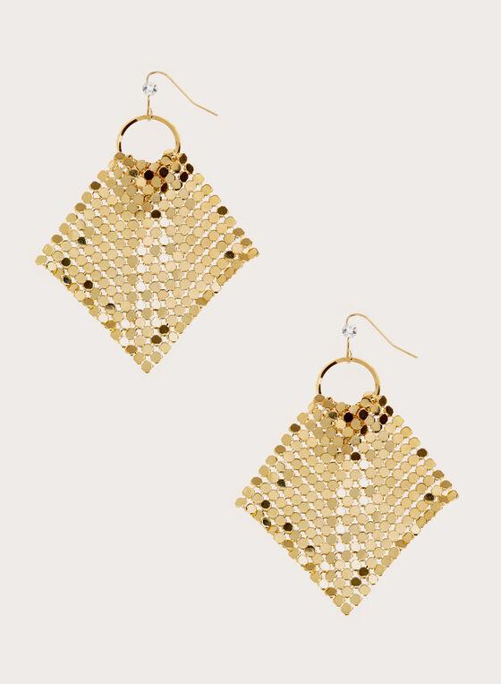 Boucles d'oreilles avec maillage doré, Or, hi-res