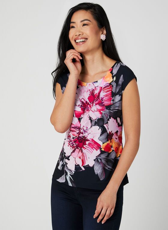 Floral Print Jersey Top, Blue