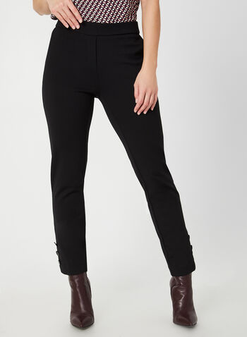 Modern Fit Slim Leg Pants, Black,  fall winter 2019, slim leg, button details