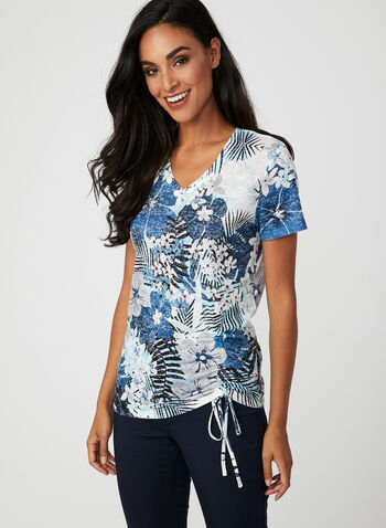 Burnout Jungle Floral Print T-Shirt, Blue, hi-res
