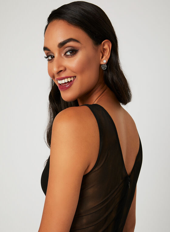 Plunging Neckline Beaded Sash Dress, Black, hi-res