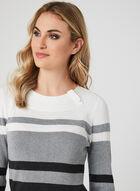 ¾ Sleeve Stripe Print Top, Grey, hi-res