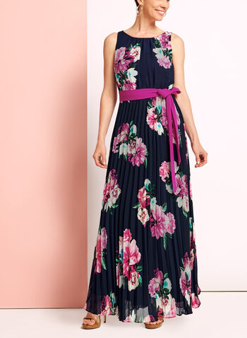 Floral Print Pleated Dress, Blue, hi-res